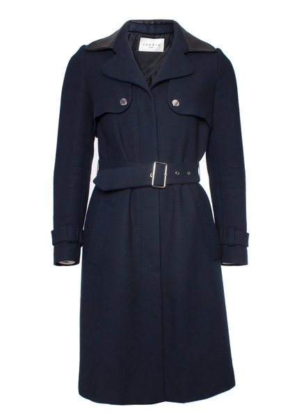 Sandro Sandro, Blue woolen trench coat with leather collar in size FR36/XS.