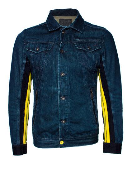 Diesel Diesel, Blauw spijkerjasje met gele strepen in maat S.