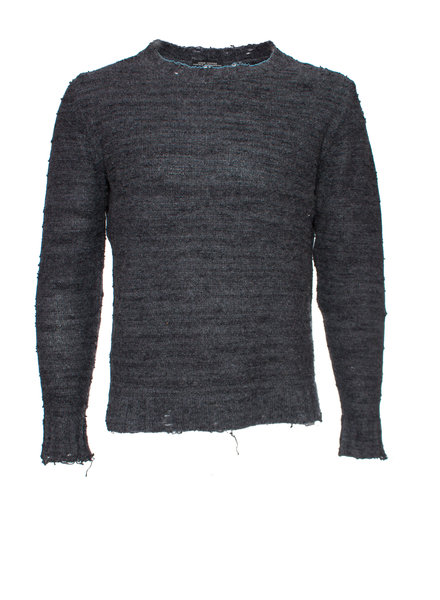 Daniele Allesandrini Daniele Allesandrini, Gray wool sweater with open pieces in fabric in size IT50/M.