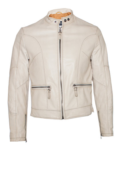 Armani Jeans Armani Jeans, off-white leren jas in maat I48/M.