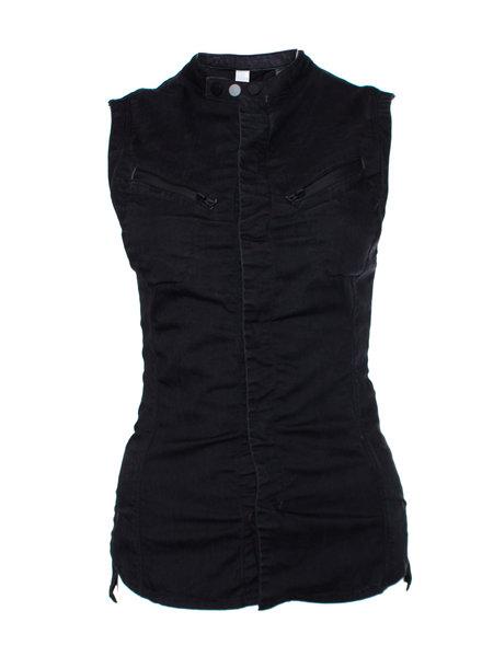 G Star G star, black sleeveless biker jacket/waistcoat with press studs in size S.