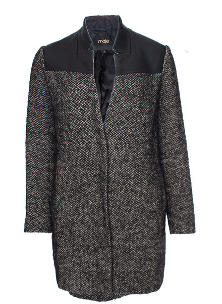 Maje Maje, black/grey boucle jacket with leather collar and shoulders in size 2/M.