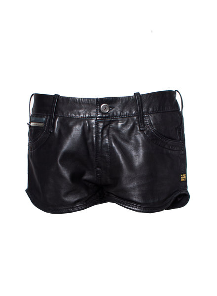 G Star G Star, Black leather shorts in size 32/L.