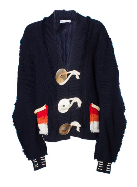 J.W. Anderson, Blue oversized knitted cardigan in size S.
