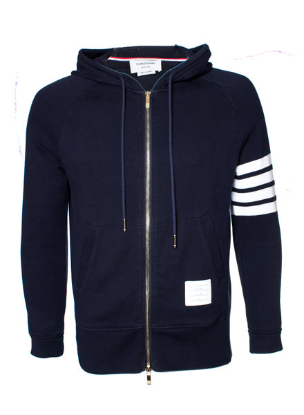 Thom Browne, Zipped 4 bar hoodie in size 3/L.