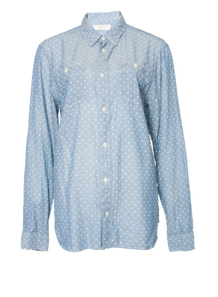 All Saints, Light blue polkadot blouse in size M.
