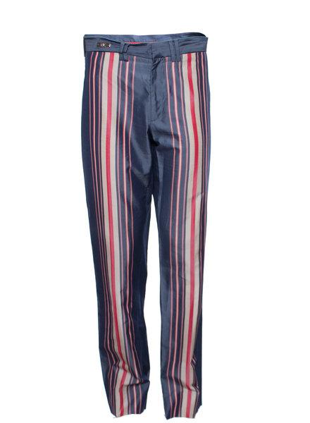 Versace Jeans Couture Versace Jeans Couture, Blauwe pantaloenbroek met rood/beige strepen in maat IT48/M.