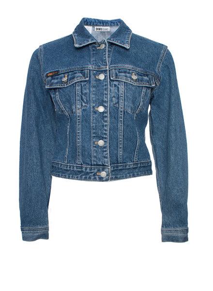 DKNY  DKNY jeans, vintage blauw spijkerjasje in maat P/S met decoratie op de achterkant.
