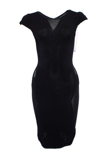 Maje Maje, Black stretch dress with transparent parts is size 1/S.