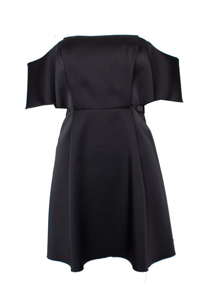 Sandro Sandro, Black shiny off-shoulder dress in size 1/S.