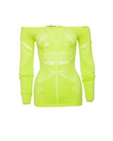 Pinko Pinko, Neon gele gebreide stretch top in maat M.