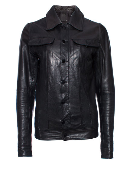 G star Raw, Black leather jacket in size S.