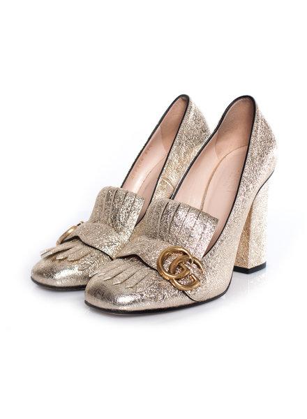 Gucci Gucci, metallic goudfolie lederen GG marmont franje loafer.
