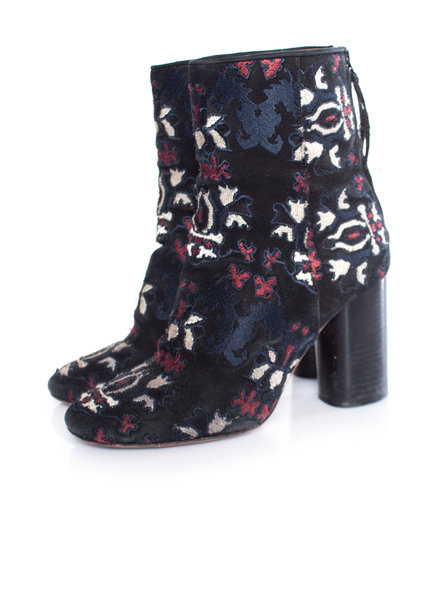 Isabel Marant Isabel Marant, Black Guya Embroidered suede ankle boots in size 38.