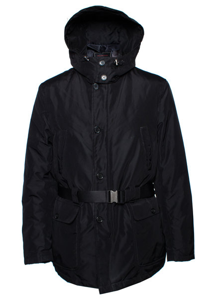 Valentino Valentino, black parka jacket with removable hood.