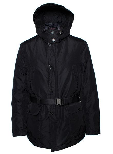 Valentino Valentino, zwarte parka jas met afneembare capuchon.