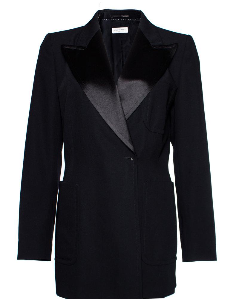 Dries van Noten Dries van Noten, black wool blazer with shiny revert and press studs in size EU40/L.