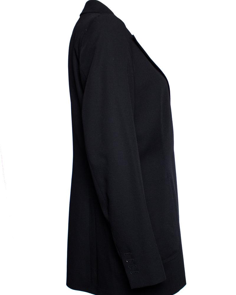 Dries van Noten Dries van Noten, zwart wollen blazer met glanzend revert en drukknopen in maat EU40/L.
