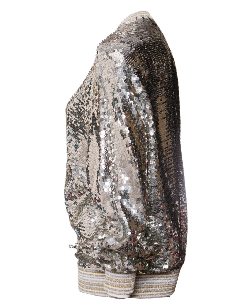 Gianfranco Ferre Gianfranco Ferre, Bomber vestje met zilveren pailletten en lurex in maat IT42/S.