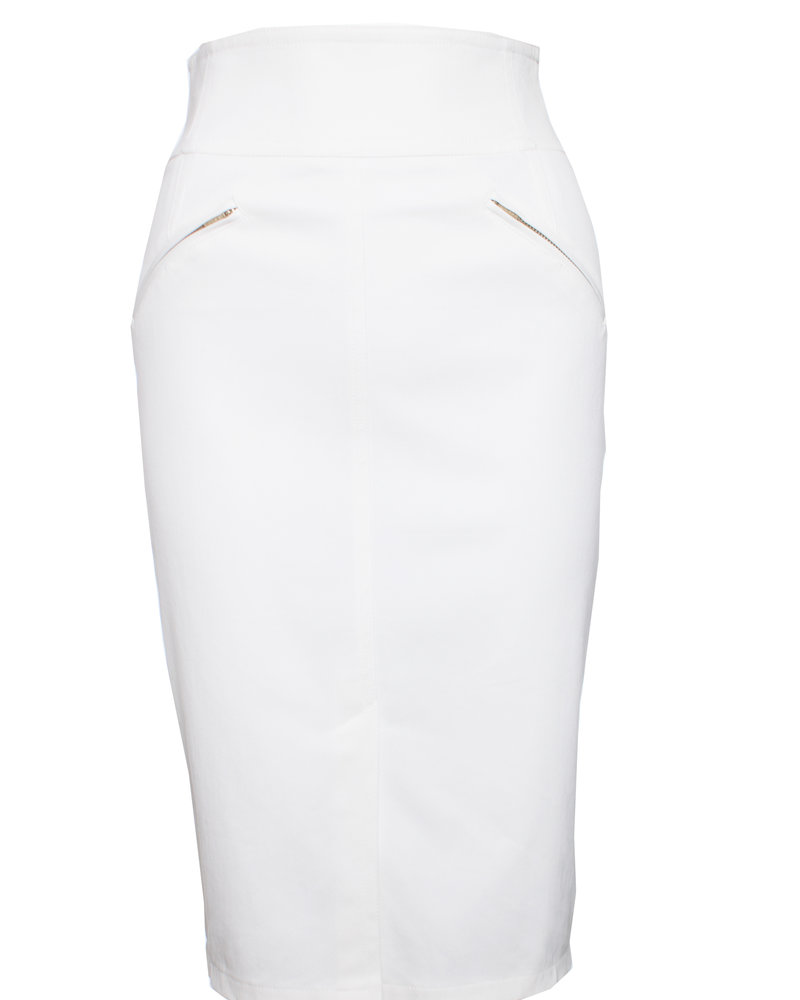Rena Lange, white pencil skirt with zipper pockets in size S.