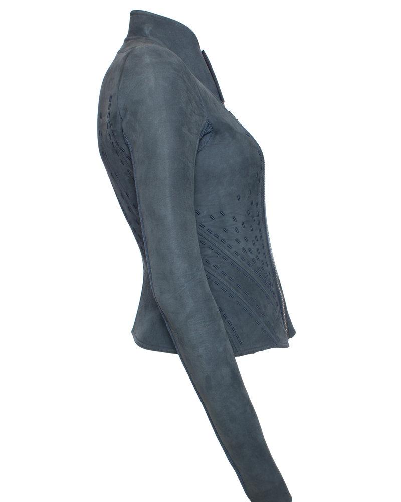 Rick Owens Rick Owens, Lilies Blue bonded Nubuck Campala jacket in size IT40/XS.