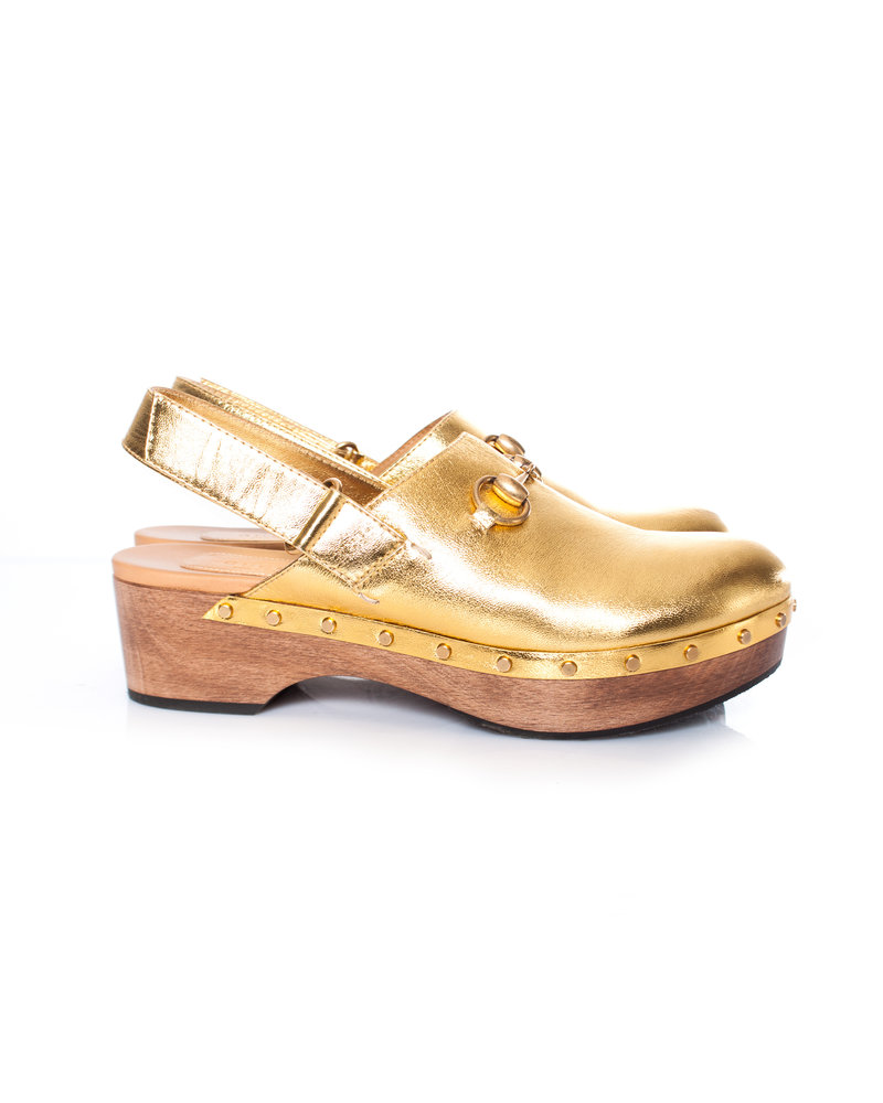 Gucci Gucci, Amstel Metallic leather Clog in size 39.