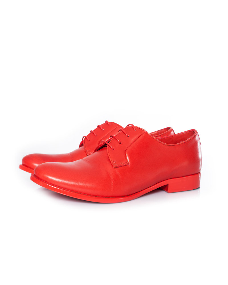 Jil Sander Jil Sander, red leather monochrome lace up derby shoes with glossy painted outsole in size 36.