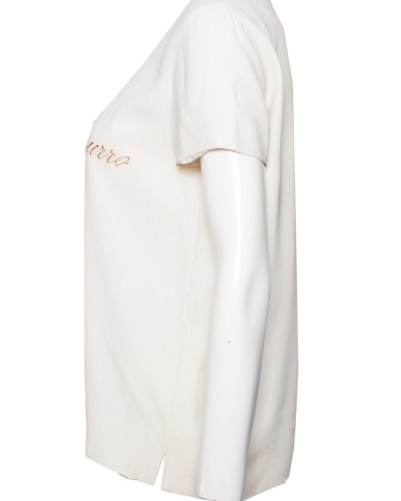 Moschino Moschino Couture, Roomkleurige top met gouden text in maat IT42/S.