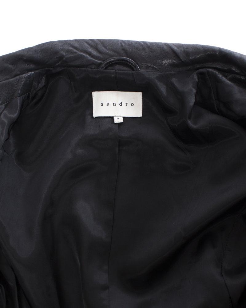 Sandro Sandro, Black lamb leather biker jacket with rabbit fur in size 3/L.