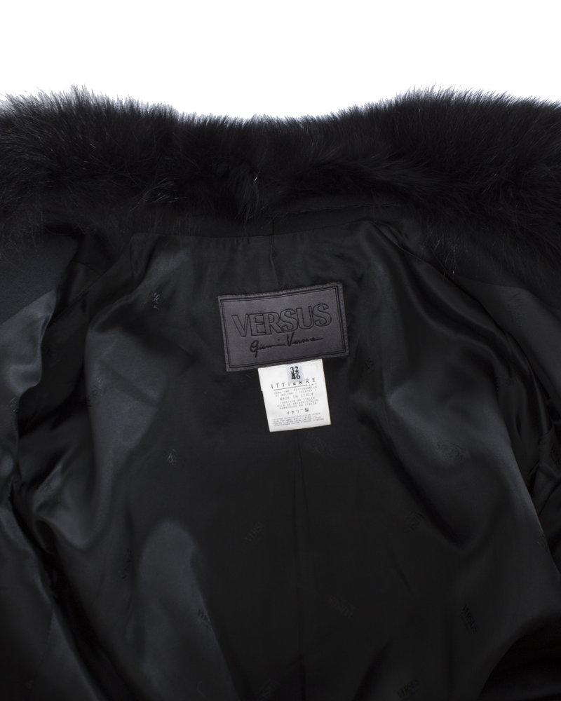 Versus Versus, Vintage zwarte wollen blazer met bontkraag in maat IT46/XL.
