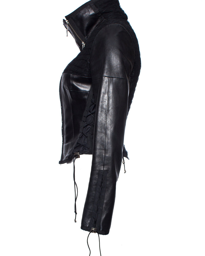 Jitrois Jitrois, Leather biker jacket with corset closure and high collar in size IT42/S.