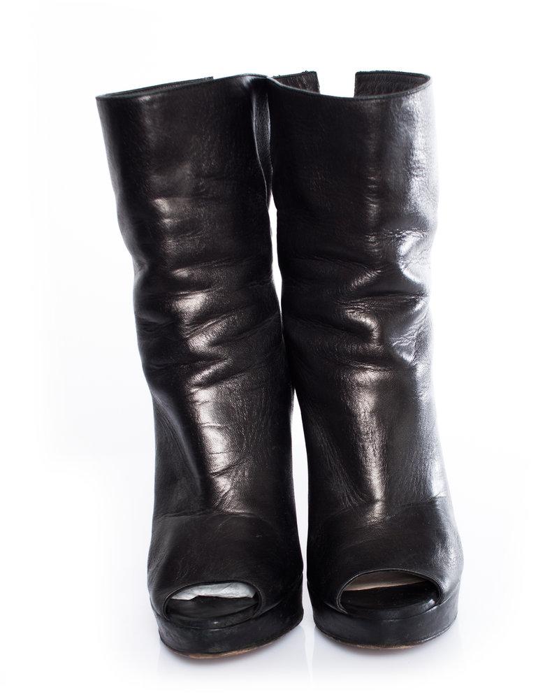 Prada Prada, Black leather peep-toe ankle boots in size 37.