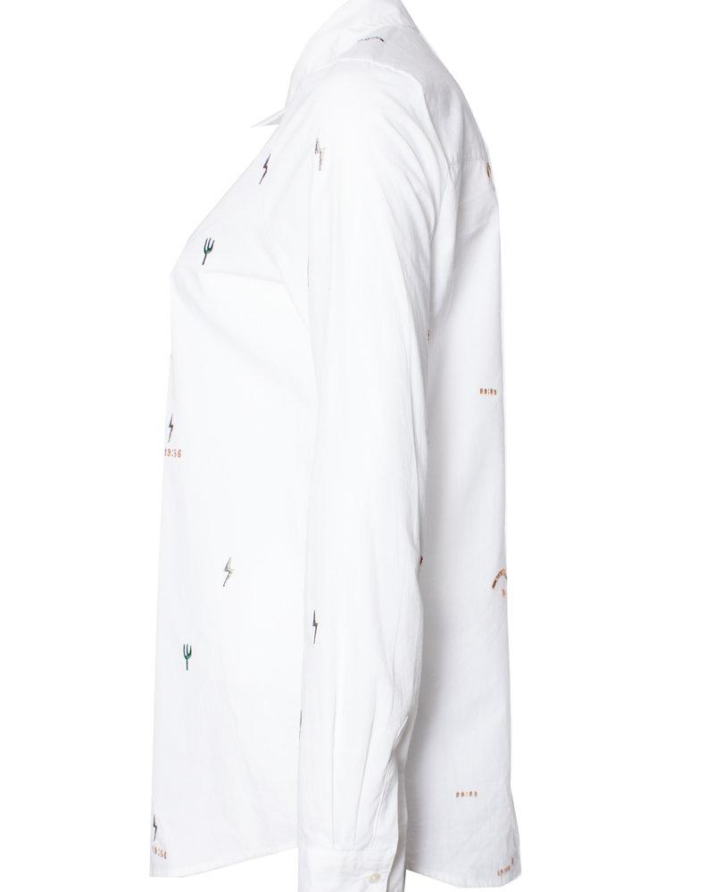 Maison Scotch, wit katoenen shirt met borduursel in maat S.
