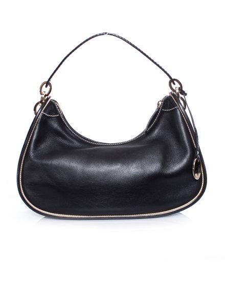 Tod's Tods, black leather shoulder bag with golden hardware.