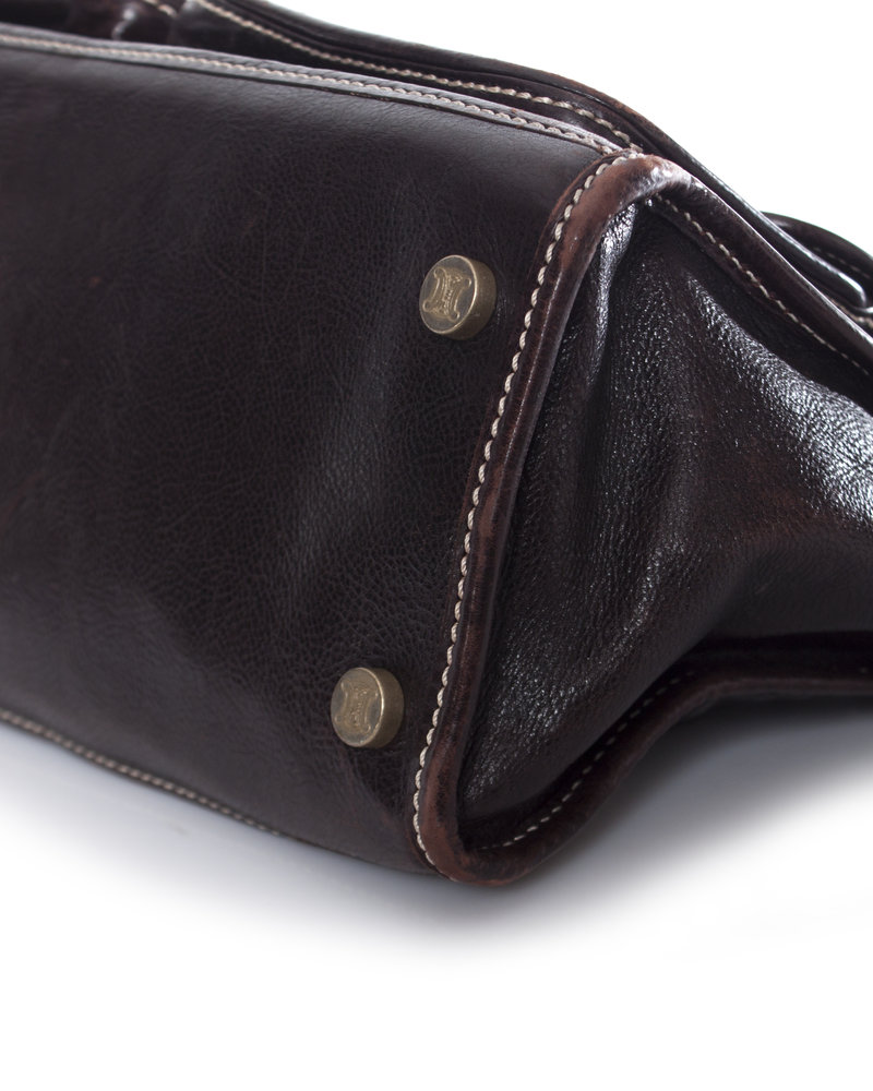 Celine Celine, Vintage brown leather shoulder bag.