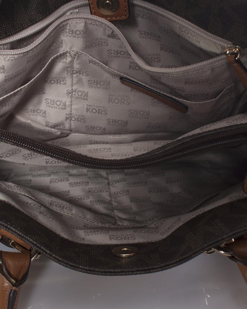 Michael Kors Michael Kors, brown canvas monogram shopper with shoulder strap.