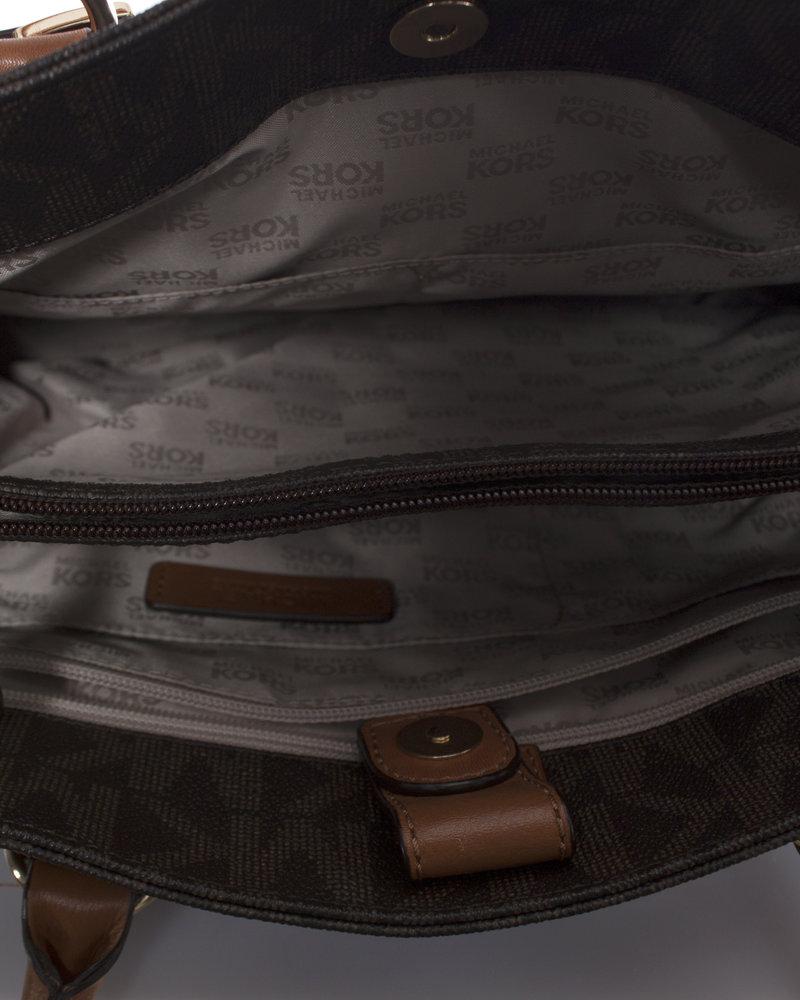 Michael Kors Michael Kors, Bruine Canvas Monogram shopper met schouderband.
