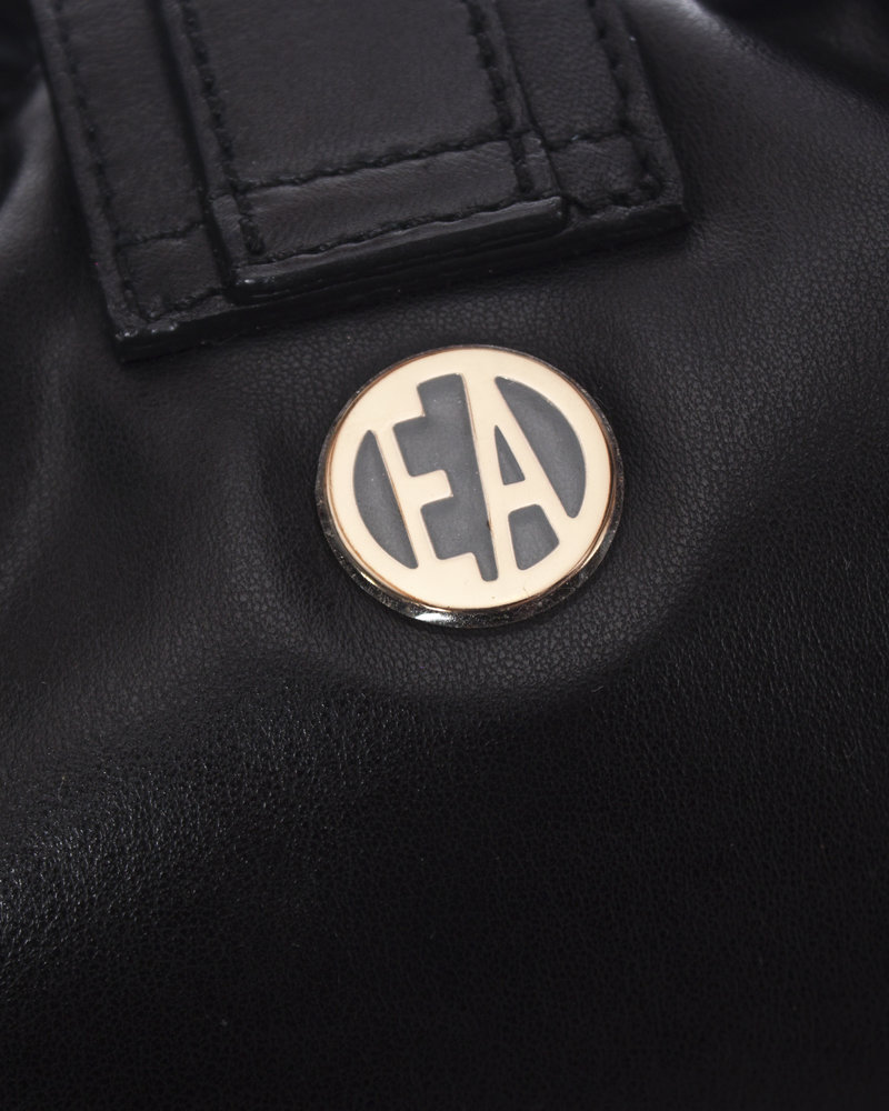 Emporio Armani Emporio Armani, vintage zwart lederen handtas met franjes.
