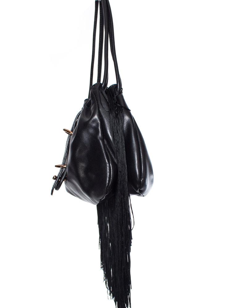 Emporio Armani Emporio Armani, Vintage black leather handbag with fringes.