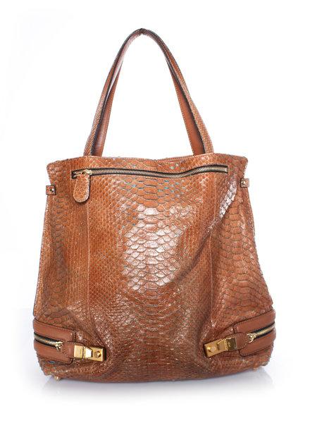 Chloé Chloe, Cognac python leather shopper.