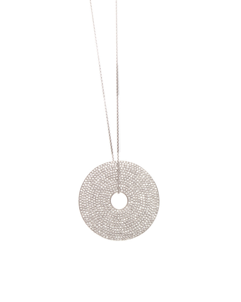 Necklace in 18 kt white gold with round pendant with 13 rows of 0.8 kt diamonds .