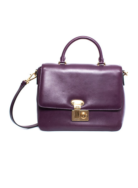 Dolce & Gabbana Dolce & Gabbana, Purple leather handbag with shoulderstrap and golden hardware.