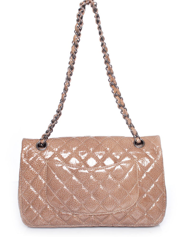 Chanel Chanel, Beige Quilted Crinkled Patent Leather Classic Medium double Flap Bag with silver hardware.