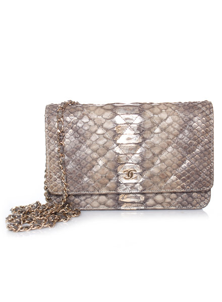 Chanel Chanel, python leather wallet on a chain.