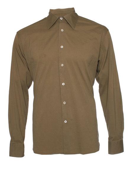 Prada Prada, legergroen shirt in maat 40-15 3/4 (M).