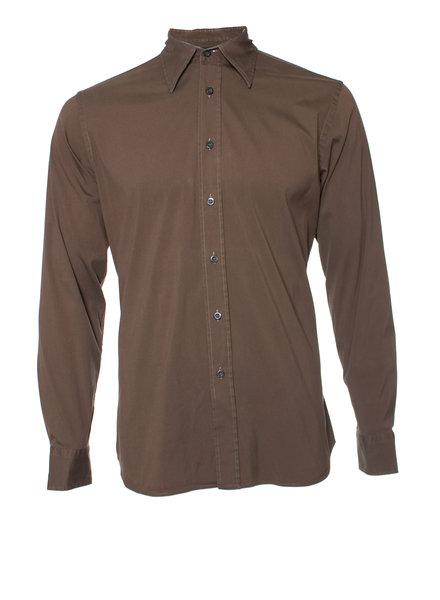 Prada Prada, Olijf groen shirt in maat 40-15 3/4 (M).
