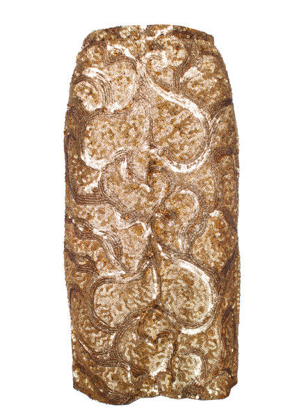 Burberry Prorsum Burberry Prorsum, Gold sequinned skirt with split in size 38/M.