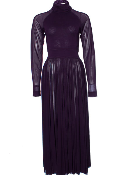 Celine Celine, Maxi Flared dress with longs sleeves and High-Neck in size FR36/XS.
