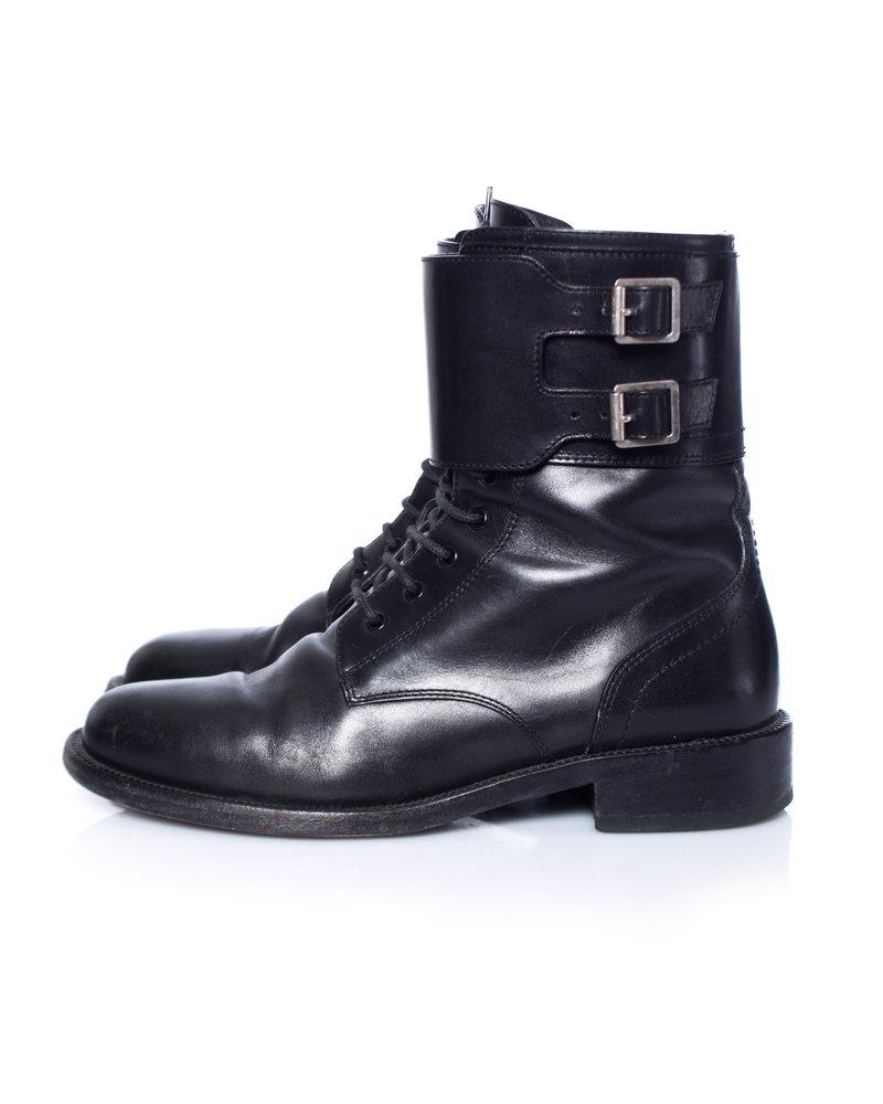 Saint Laurent Saint Laurent, Patti Black leather army combat boots.