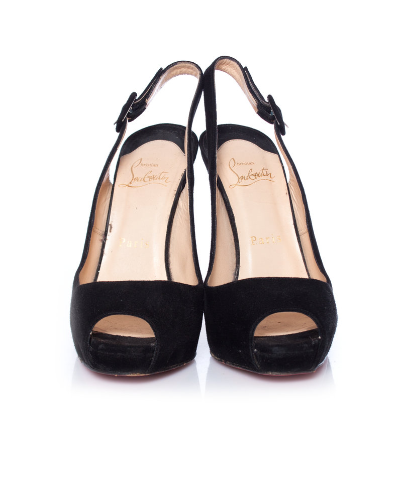 Christian Louboutin Christian Louboutin, Black suede slingback peep-toe pumps in size 37.5.